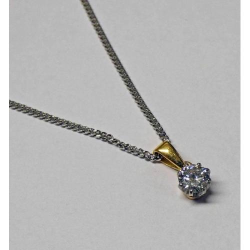 10 - DIAMOND SINGLE STONE PENDANT, THE BRILLIANT-CUT DIAMOND APPROX 0.45 CARATS ON A FINE CHAIN
