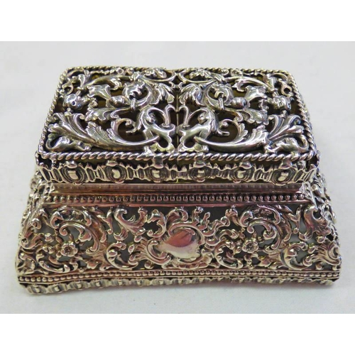 18 - SILVER DOUBLE STAMP BOX MARKED STERLING WITH FLORAL PIERCED WORK DECORATION