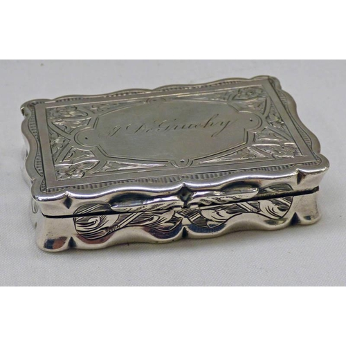 26 - VICTORIAN SILVER SNUFF BOX WITH ENGRAVED DECORATION, BIRMINGHAM 1848 BY GEORGE UNITE