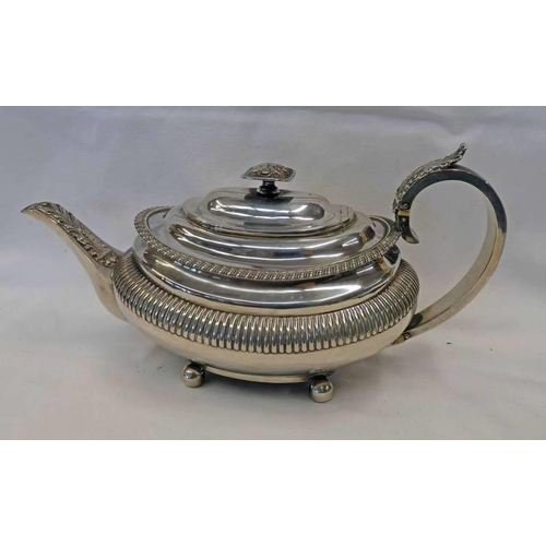 3 - GEORGE III SILVER TEAPOT WITH GADROONED DECORATION, FOLIATE DECORATED FINIAL ON 4 BALL FEET, LONDON ...