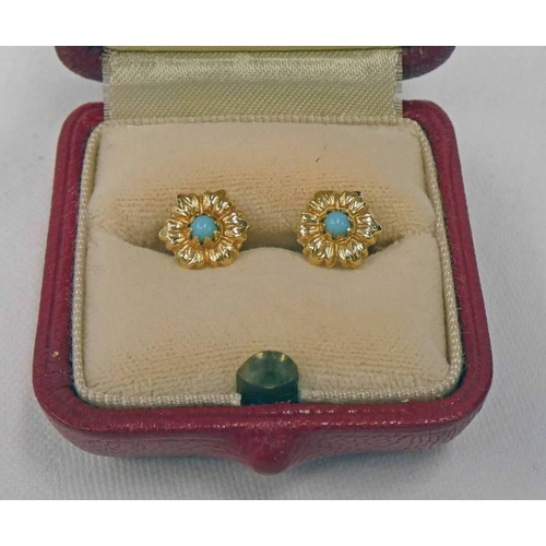 31 - PAIR OF TURQUOISE SET EARSTUDS