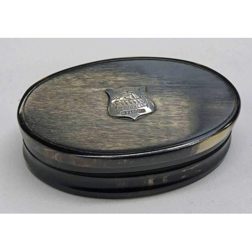 4 - SCOTTISH PROVINCIAL SILVER MOUNTED HORN SNUFF BOX BY DUNNINGHAM & CO. ABERDEEN, THE CARTOUCHE DECORA...