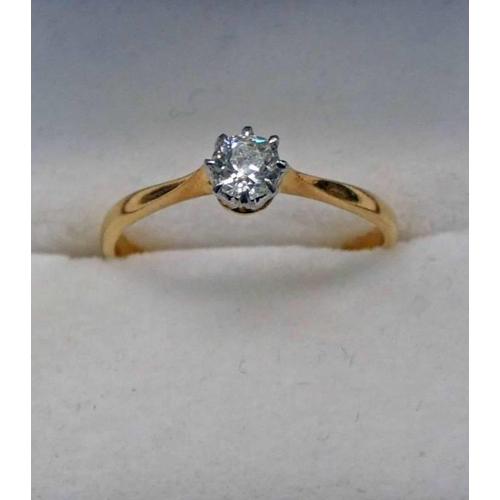 59 - 18CT GOLD DIAMOND SINGLE STONE RING, THE BRILLIANT CUT DIAMOND APPROX. 0.3 CARATS