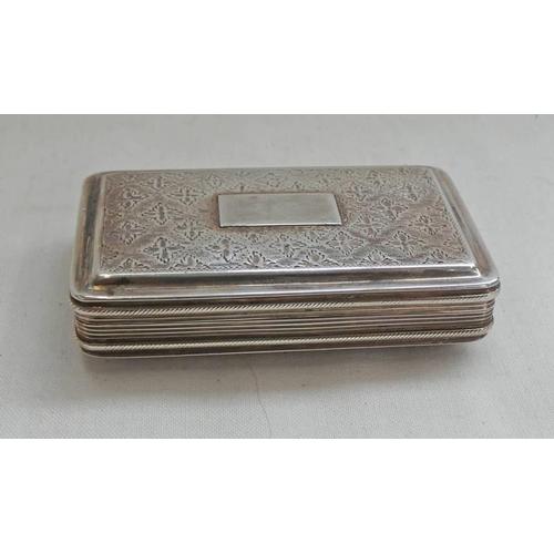 60 - SILVER SNUFF BOX WITH FLORAL DECORATION & GILDED INTERIOR, BIRMINGHAM 1795