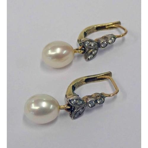 7 - PAIR CULTURED PEARL & DIAMOND EARRINGS