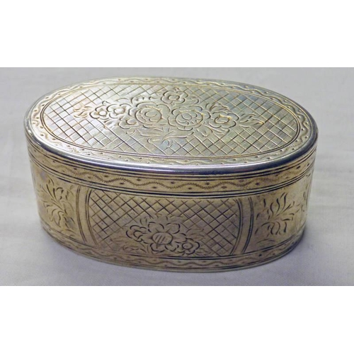 8 - OVAL WHITE METAL BOX  18TH CENTURY MARKED DR