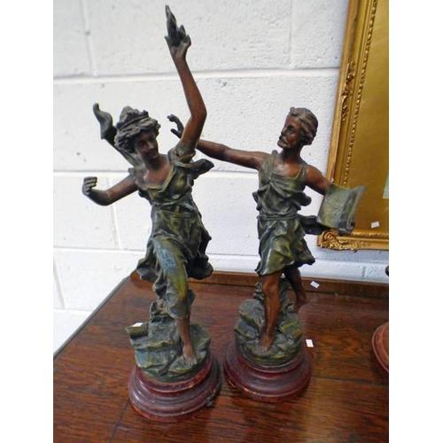 1003 - TWO CLASSICAL METAL FIGURES ON STANDS 52CM TALLEST