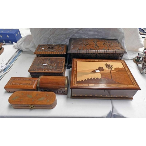 1004 - VARIOUS LEATHER & WOODEN BOXES