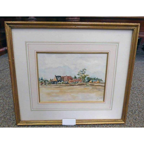 1005 - MVH SCHILIK,  FARM BUILDINGS,  SIGNED & DATED 1916,  FRAMED WATERCOLOUR,  13 X 18CM