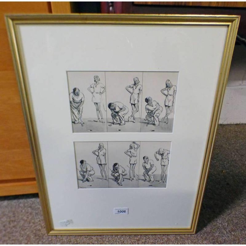 1006 - FRANK REYNOLDS GOLFING SCENES SIGNED PAIR OF FRAMED PEN AND INK DRAWINGS 13 X 22 CM EACH