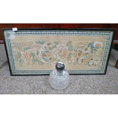 1008 - FRAMED 19TH CENTURY CHINESE TAPESTRY/PANEL AND A SILVER TOPPED SCENT BOTTLE  -2-