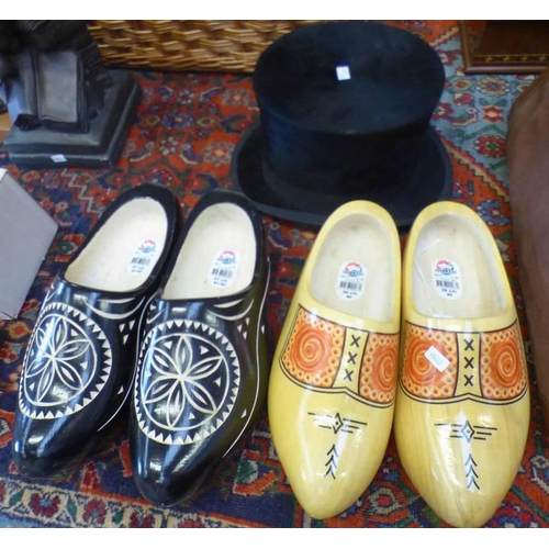 1009 - 2 PAIRS OF WOODEN CLOGS & TOP HAT