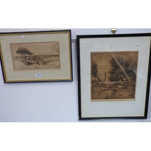 1011 - TWO FRAMED ETCHINGS BY ALEC FRASER WITH 'HOMEWARDS'  28.5 CM X 26.5 CMS AND 'HARVESTER' ETAPLES'  15...