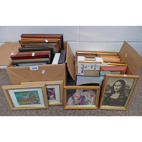 1016 - 2 BOXES OF VARIOUS PRINTS, PICTURES AND FRAMES ETC