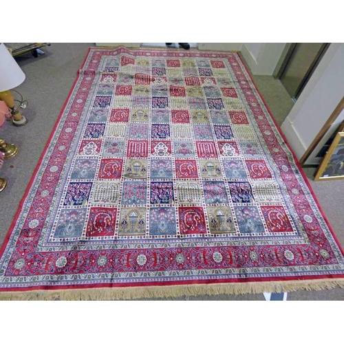 1021 - LARGE RED GROUND KASHMIR CARPET WITH TRADITIONAL PERSIAN PANEL DESIGN  330 X 235 CM