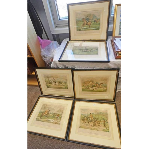1022 - A SET OF 6 FRAMED HUNTING PRINTS: BY E KAUFMANN, AFTER H WATKINS - 37 X 43 CM