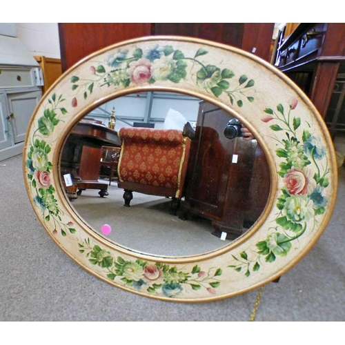 1032 - 20TH CENTURY OVAL MIRROR WITH FLORAL DECORATED BORDER, 91CM WIDE