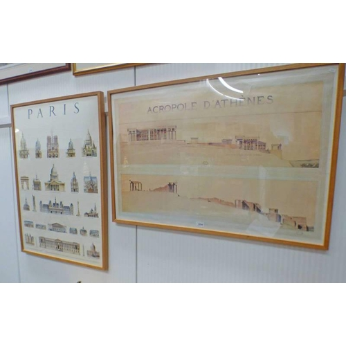 1034 - FRAMED PRINT 'ACROPOLE D'ATHENES' SHOWING BEFORE AND AFTER OF THE LOCATION - 64 X 95 CMS & FRAMED PR...