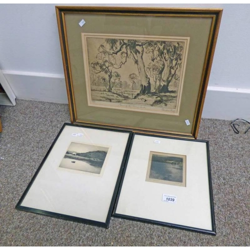 1039 - GILT FRAMED ETCHING ''GUNS OF THE SUNNY SOUTH'' BY DOUGLAS PRATT, SIGNED IN PENCIL NO 30/90 , LIMITE...