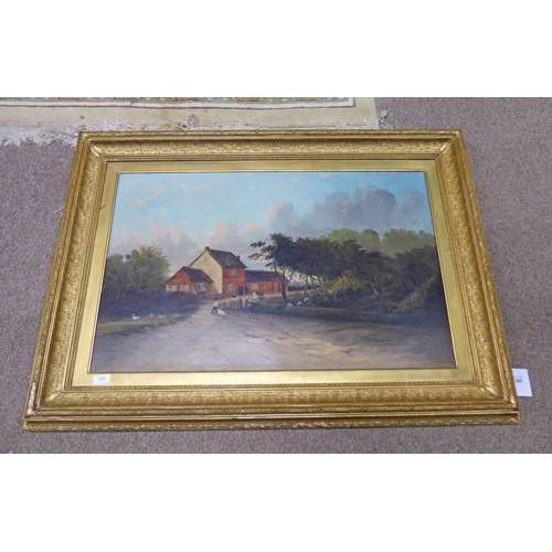 1043 - LATE 19TH / EARLY 20TH CENTURY GILT FRAMED OIL PAINTING OF RURAL SCENE 55 X 85CM