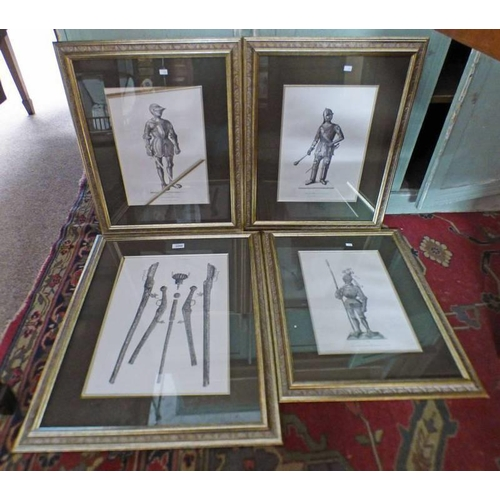 1044 - SET OF 4 FRAMED MILITARIA PRINTS OF WEAPONS, SUITS OF ARMOUR, ETC - LARGEST 45 X 32 CM