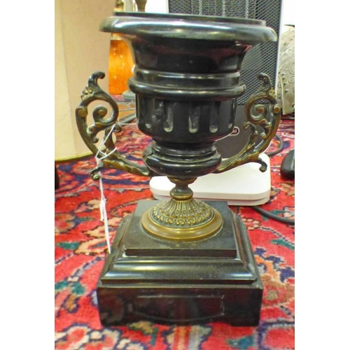 1045 - EARLY 20TH CENTURY BLACK SLATE URN WITH METAL MOUNTS, 24CM TALL