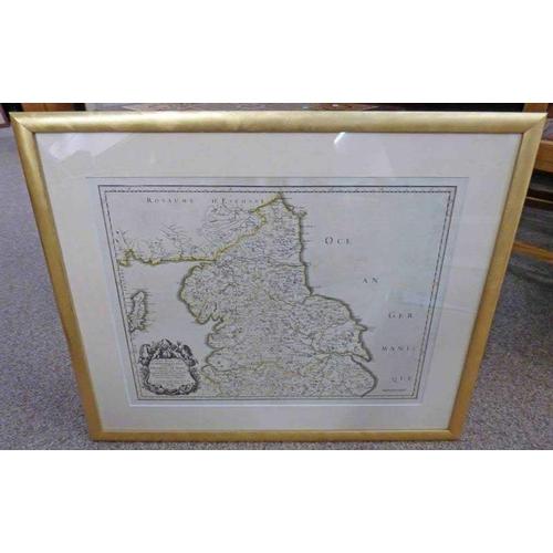 1046 - GILT FRAMED MAP:  ANCIEN RYAUME DE NORTHUMBERLAND, PROVINCE DE NORT. PAR LE SR SANSOM 1658 - 38 X 50...