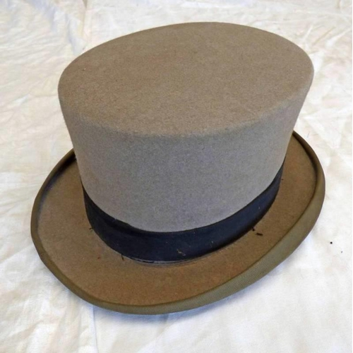 1048 - A GREY MOSS BROS. TOP HAT  20  X 16 CMS
