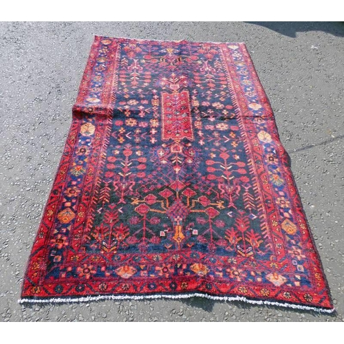 1053 - DEEP BLUE GROUND IRANIAN VILLAGE RUG WITH BESPOKE ALL OVER FLORAL PATTERN 240 X 150CM