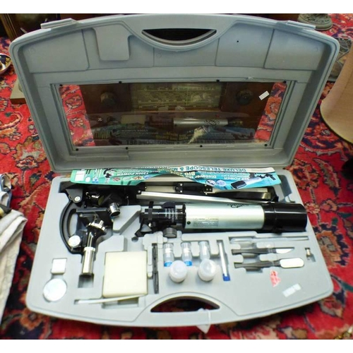1054 - TELESCOPE AND MICROSCOPE SET IN CARRY CASE