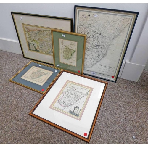 1055 - FRAMED COLOURED MAP OF THE MIDDLE PART OF SCOTLAND PUBLISHED BY ALEXANDER HOGG AND 4 FRAMED MAPS OF ...