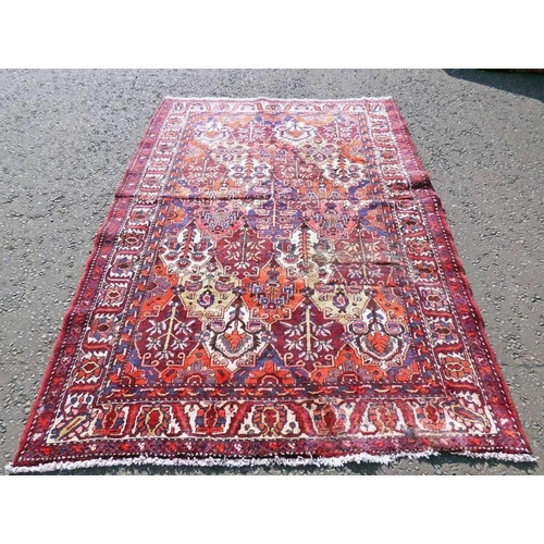 1056 - TRADITIONAL PERSIAN BAKITAR WITH ALL OVER BESPOKE PANEL DESIGN 230 X 162CM