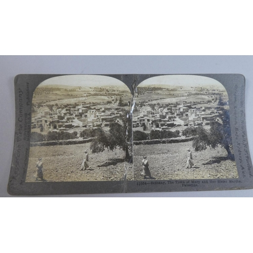 11 - A 19th Century Stereoscopic Viewer Together with Eleven Cards, Mainly Scenic Views...