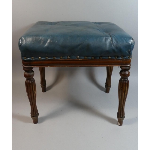 13 - A Rectangular Leather Topped Stool with Turned Reeded Legs, 50cm Wide...