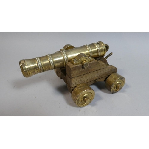 2 - A Brass and Wooden Model of a Ship's Cannon, 19.5cm Long...