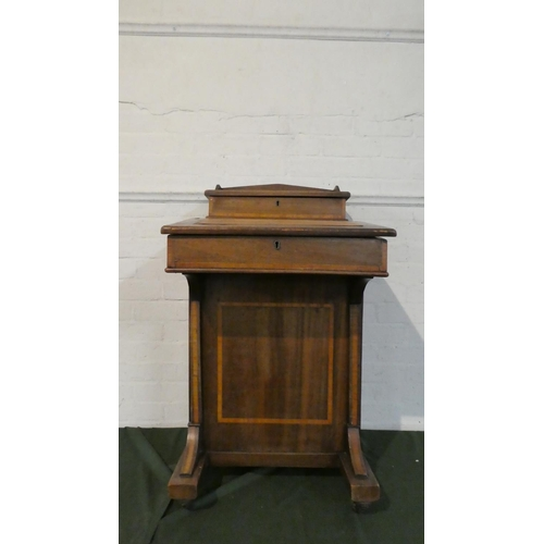 20 - A Late 19th/Early 20th Century Inlaid Davenport with Hinged Lid to Fitted Interior, Four Side Drawer...