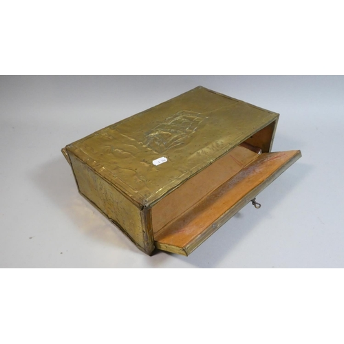 31 - A Brass Stationery Box with Tall Ship Decoration in Relief,