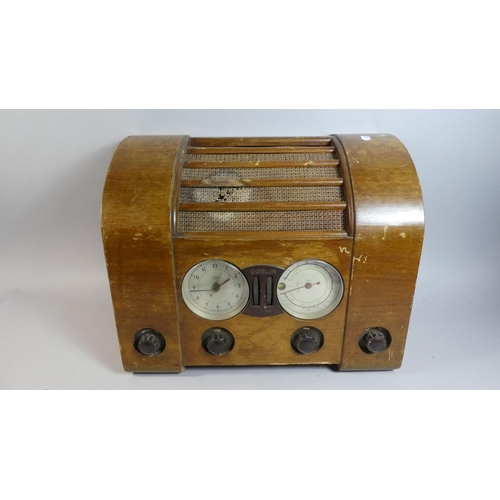 35 - An Art Deco Goblin Electric Radio and Clock, In Need of Restoration, 44cm Wide...