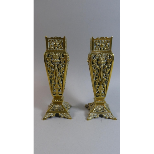 60 - A Pair of Pierced Brass Vases, 22cm High...