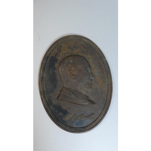 5 - A Cast Metal Oval Plaque with Bust of C C Booth in Relief, 25cm High, Stamp BBB to Back...