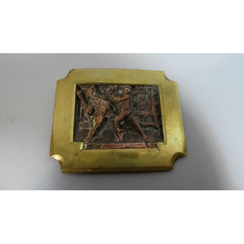 13 - A Brass and Copper Plaque Depicting Gents Fighting and Inscribed C Schaub, London, June 4th 1873, 8....