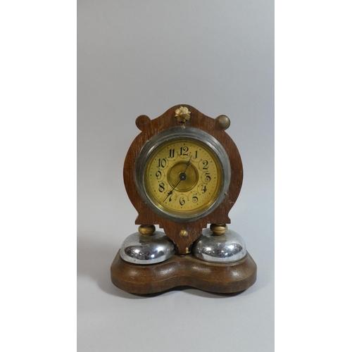 24 - A Late 19th Century Alarm Clock, 25cm High...