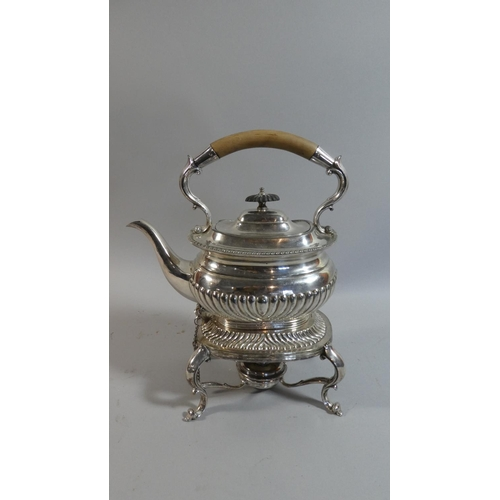 26 - A Silver Plated Spirit Kettle on Stand with Burner...