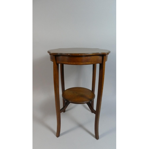43 - An Edwardian Shaped Top Inlaid Mahogany Occasional Table with Circular Stretcher Shelf, 52cm High...