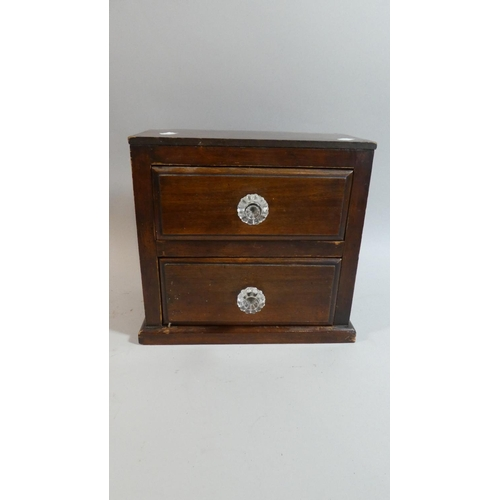48 - A Late Victorian Two Drawer Collector's Box with Glass Knobs, 27.5cm Wide...
