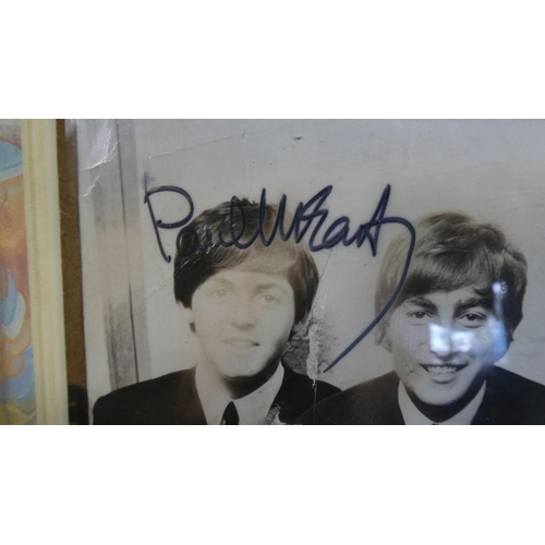 5 - A Framed Autographed Photograph of the Beatles, Signatures Look Correct but no Provenance, 22cm x 17...