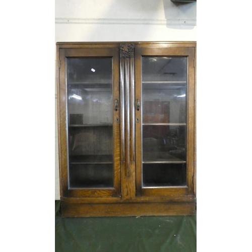 53 - An Edwardian Oak Glazed Bookshelf, 91cm Wide...