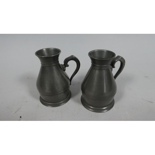 11 - A Pair of Early Pewter Measures, 8cm High...