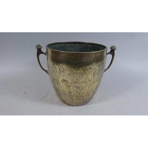12 - A Georgian Two Handled Brass Gooseberry Bowl, 20cm High...