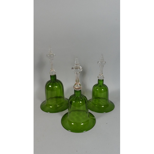 15 - A Set of Three 19th Century Graduated Green Glass Bells with Clear Crystal Baluster form Wrythen Han...